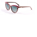 """MOD.585 - col.008 - <p>Ultra-feminine sunglasses model, shiny acetate, embossed work on the top of the front and distinctive """"cat-eye"""" shape, attenuated on both the sides by the angular cut and having temples enriched by the angular metal logo plaque. Completely in acetate, it is available in 4 colors that vary from the black, the cognac, to the colored ones with overlapping slabs, with powder-pink/cyclamen/Bordeaux/brown and purple/dark blue/burgundy combinations. Polarized lenses are able to effectively filter the reflections of light on wet or shiny surfaces that adversely affect vision.</p> <p></p>"""