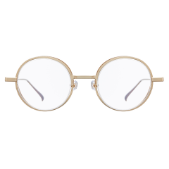 """DOPE - DOPE has different silhouettes from various angels. Its front view seems like a basic rounded shape of metal frame, but actually lenses are detached from rims, indicating that they are """"half-rimless glasses"""". This unique frame is composed of both Titanium and Beta Titanium, so that it offers lightweight."""