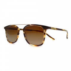 IDOL - Tiger's Eye - Sunglasses made with a combination of high-quality Italian acetate, and a metal crossbar.  The inner metal frame is perfectly glazable for a multitude of prescriptions and sits neatly inside the acetate outer frame, held securely with a single screw. There is no fixed bridge, and the lenses are polarised and have back surface AR coatings, for ultimate comfort and practicality.