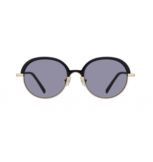 """LENTO - These rounded shapes of sunglasses feature a great combination of two materials, bold acetate and matt golden metal. The big turned """"U shape"""" of bridge line adds more uniqueness on this classical Soltex frame."""