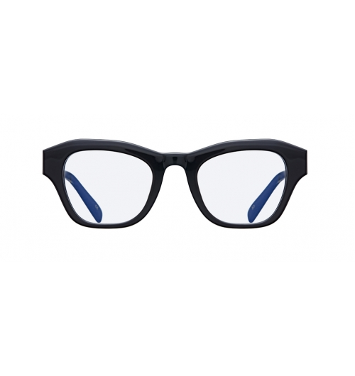 """LARGO - A bold looking cat-eye frame. Its thicker upper rims and Wellington style bottom gives this optic an epicene beauty.  Angulated outer line gives """"LARGO"""" a contrasting look with its cat-eye shape front. It has both clear and tinted lens models."""
