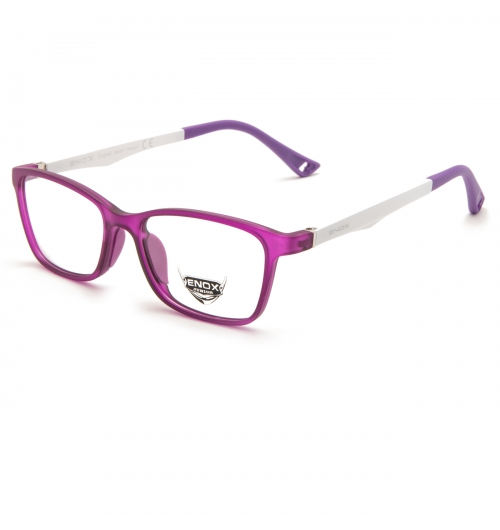 EJ24 - A unisex optical frame of the new ENOX JUNIOR collection, made in hypoallergenic acetate, very strong and easy to adapt to the very young faces.  The rather squared design is extremely comfortable and trendy. Available in 6 different colors, all brought together by the front transparencies (blue, red, old rose, violet, mint green and full black) and the fanciful drilling in the end tips of the temples, all bicolor and provided with flex. The model is also provided with small colored soft rubber nose pads, adapt to the sensitive skin of the children. The baby's comfort and needs always come first for us.
