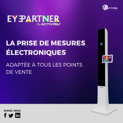 EYEPARTNER® - EYEPARTNER® is ACTIVISU®'s affordable electronic measurements solution designed to adapt to all points of sale.  With EYEPARTNER®, taking electronic measurements becomes a user-friendly experience that perfectly integrates into your sales process.  EYEPARTNER® allows you to obtain all the necessary measurements in less than 40 seconds: - PDs and fitting heights for far vision; - Vertex distance; - Pantoscopic tilt; - Wrap angle.  Interfacing between the EYEPARTNER® and your PMS allows you to order your lenses straight away without the need to re-enter the customer's data.