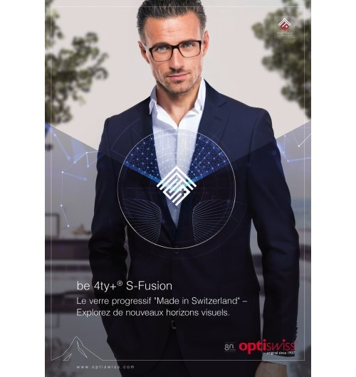 be 4ty+ S-Fusion - The progressive lens made in Switzerland. Experience new visual horizons.