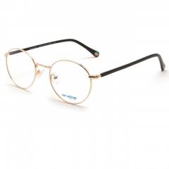 ET130 - A unisex optical frame of the new ENOX TEENAGER collection, made in hypoallergenic metal, round shape, for a return to the classic, downplayed by the colors of the front and the temples made in acetate. Available in the more vivid colors of the blue and the red, up to the black, gold, steel. Equipped with soft nose pads that guarantee a universal fitting, it gives a touch of intellectuality to the youngest who want to be inspired by the well-known magician whose name it bears.