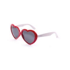 EJ502 - A really special model for young girls of the collection ENOX JUNIOR, with a nice heart shape for the very young divas who don't want to pass unnoticed. Available in 4 colors, black and bright red with matching colors for the temples, electric blue, and plum with white temples, all with a dotted pattern.  The certainty of being original and glamour, continuing to preserve the eyes with the appropriate protection from UV rays.