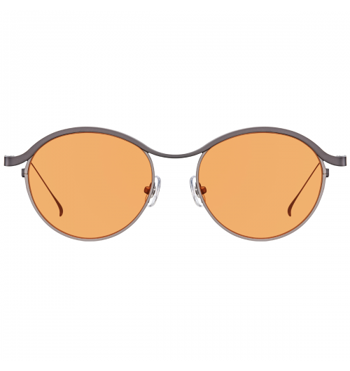 """FLOW - Just like the name """"FLOW"""", a long Titanium constructs temples and a brow bar, drawing a naturally curved long line. This rhythmical curved line is wellbalanced with rounded shape of rims. Due to Titanium composition, these sunglasses offer lightweight and comfortable fit.   22g / TITANIUM & b-TITANIUM"""