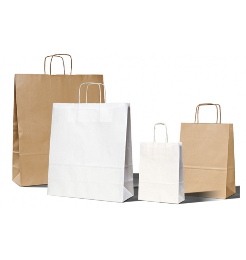 Cabas Massilia - Paper bags with twisted handles which are made in our production workshop.  Paper comes from sustainably managed forests