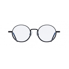 PLAYER - Bold half-rim metallic round shaped optic. It has full framed rims but looks like a semi-rimmed glasses, and it features striking reverse half-rim design to create a unique feeling