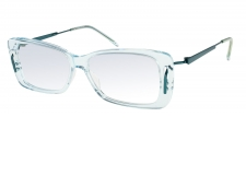 ZODIAC 79 - <p>The distinct blue – green transparency of the front piece interplays subtly with the refined metalic endpiece and stainless steel temple. The frame is also available in a gradient colour from gray to mauve or in a transparent apricot. The polished acetate and the light transparency colors deliver a unique look.</p>