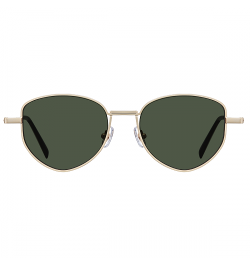 LIL - By upper and bottom lines of rims are crossed each other, those crossed lines create double-layered shape of bridge. The rims of these sunglasses feature a vibrant polygon shape, showcasing fashionable silhouette and completing unique vibes.   22g / STAINLESS STEEL