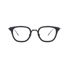 VIBE - A classical square optical frame featuring bold color contrast at the hinges. VIBE is created with the Soltex Technology, which involves molding metal and acetate material in the creation of eyewear.
