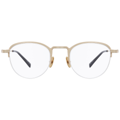 LOW GAUGE - This soft Wellington styled frame features metal of half-rimless frame. Classical and sophisticated silhouette is especially accented with its angled bridge detail. Since IP plating process is applied on its nose pads, it is not easily peeled off.