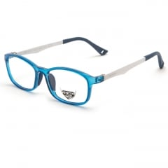 EJ25 - A unisex optical frame of the new ENOX JUNIOR collection, made in hypoallergenic acetate, very strong and easy to adapt to the very young faces.  The squared design with beveled corners is extremely comfortable and trendy. Available in 6 different colors, all brought together by the front transparencies (blue, red,  violet, wisteria, electric blue, full black) and the fanciful drilling in the end tips of the temples, all bicolor and provided with flex. The model is also provided with small colored soft rubber nose pads, adapt to the sensitive skin of the children. The baby's comfort and needs always come first for us.