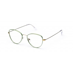 LOUISE // vintage gold w/green - <p>Ultra slim and super flexible stainless steel frame with Italian acetate windsor rim</p>