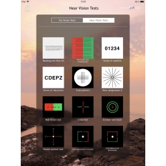Vision Test - The application – which could be controlled from your smartphone – offers tests for near and far vision. These tests will allow you to measure the monocular and binocular acuity but also to detect horizontal or vertical heterophoria thanks to polarizing and anaglyph tests. Moreover you will check 3 levels of binocular vision on top of the color perception.  Even though it can control a good binocular comfort, Vision Test will be very useful during the delivery of the progressive lens equipment, at the selling desk, to confirm your customer the suitability of his new spectacles while showing him the modernity of your professional tools. No more card box Parinaud test held at 33cm! A tool that belongs to the digital era.