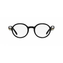 BRIO - The rounded horn-rimmed frame is made of full acetate. The bridge is covered by matt golden metal up and down, showcasing iconic silhouette.