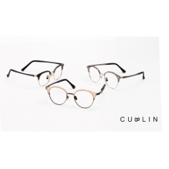 Cublin - CUBLIN' combined light TR-90 (grill-amid-Swiss EMS) with TH Optical Ins. to make full use of lightness and transparency and it is a combination of various materials and provides comfort. Out of black and brown demi half-frame style, We suggest new style product which is harmonized with pastel colours of rim hood, stainless front rim machined as CNC, the temple with high elasticity of ultem. CUBLIN has achieved not only various cap colours but also metal front plating colours including Neo Antique colour and etc. Because of this features, CUBLIN has merit that not only adapts to all skin colours regardless of the East and the West but also a variety of colours depending on the angle of reflection of sunlight and situation. It is characterized that 'CUBLIN' makes half frame glasses style that was used to be dedicated to the old age people only before available for all ages which cover dignified and luxurious feeling for middle-aged, following retro trend.