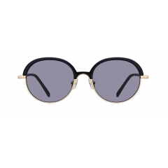 "LENTO - These rounded shapes of sunglasses feature a great combination of two materials, bold acetate and matt golden metal. The big turned ""U shape"" of bridge line adds more uniqueness on this classical Soltex frame."