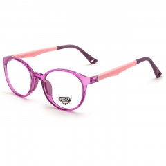 EJ20 - A unisex optical frame of the ENOX JUNIOR line, made in hypoallergenic acetate, very strong and easy to adapt to the very young faces.  The delicate and rounded design is extremely comfortable and trendy. Available in 6 various colors, all brought together by the front transparencies (blue, red, bottle green, turquoise, fuchsia and full black) and the fanciful drilling in the end tips of the temples, all bicolor and provided with flex. The model is also provided with small colored soft rubber nose pads, adapt to the sensitive skin of the children. The baby's comfort and needs come first for us.