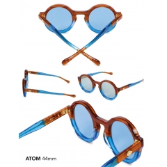 Atom - Avant-Garde…the Atom is a hyper-round poised, full body cellulose laminate frame. Equipped with modern & technically sculpted temple arms accented with exposed titanium cores. Ergonomically designed to fit most face shapes.