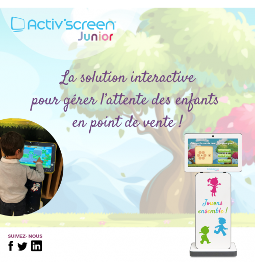 ACTIV'SCREEN® JUNIOR - ACTIV'SCREEN® offers their optician-clients the opportunity to create their digital Kids Corner in a few minutes.  This interactive ready-to-use solution, is designed to manage the waiting time of children, starting from 3 years of age. Small and compact, this customizable solution provides a series of educational and multi-level games. ACTIV'SCREEN® JUNIOR will captivate kids as well as adults.  With multi-player and multi-level games based on the optical sector, the children enjoy themselves whilst waiting, leaving their parents to be more comfortable and attentive towards the optician.  Benefits of ACTIV'SCREEN® JUNIOR:  - Compact Plug & Play solution; - Multi-level and multi-player games; - Interchangeable and customizable covers; - Available in 2 colors: yellow and grey.