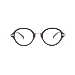 PISTIL - A round-shaped combination frame, with the lower part of its metal rims uniquely designed with an elegant metal highlights running through the bridge and the lower rims.