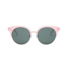 PITCH - PITCH a half-rimmed style sunglasses made with a combination of acetate and steel. Theoversize frame designed with round rims give the product a feminine character.