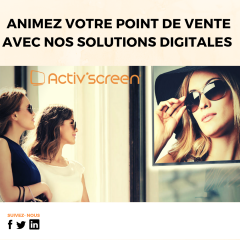ACTIV'SCREEN® - Digital signage is an excellent tool for capturing attention, generating traffic and enhancing the brands, services and expertise of an optical point of sale. The digitalization of the sales process allows a better readability of the offer as well as personalized communication. At the heart of the digitalization process is ACTIV'SCREEN®'s dynamic, digital signage solution, which boosts the client experience by enriching their buying process thanks to attention-grabbing media tools.   ACTIV'SCREEN® is a ready-to-use solution allowing opticians to increase their digital communication: - Large choice in professional screens adapted to different needs; - Simple and intuitive web interface to manage the screens in the point of sale; - 1000 + animations available to liven up the shop window and its interior.
