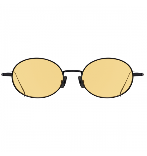 BLIMP - These horizontally oval shaped sunglasses feature a 3mm thick of flat metal rims. The entire sunglasses are composed of both Titanium and Beta Titanium. Due to a great combination of two steel materials, light weight and comfortable fit can be key points of these sunglasses. The size of sunglasses are small enough to be worn.   19g / TITANIUM & b-TITANIUM NOSE PAD - TITANIUM(IP)