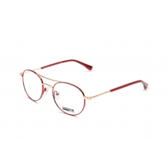 ET134 - A unisex optical frame of the new collection ENOX TEENAGER, made in hypoallergenic acetate, with a rounded design and a double bridge which is its main feature. Available in 6 various colors from blue to red, to dark grey, differently combined with gold or aluminum.   The metal temples which have long acetate end tip and combined with the front color, have a finely engraved logo. For children and youths who love an intellectual look…but not too much!